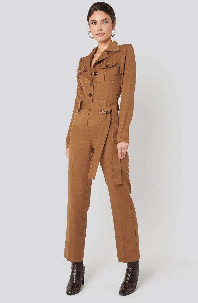 NA-KD Trend Front Pocket Tied Waist Jumpsuit