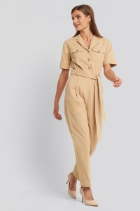 Belted Cargo Short Sleeve Jumpsuit