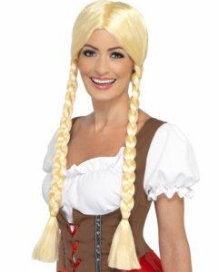 parykk med fletter - blond