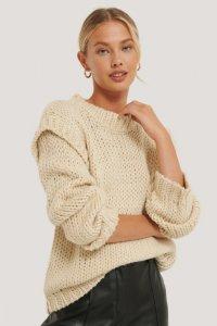 NA-KD Wool Blend Shoulder Detail Knitted Sweater