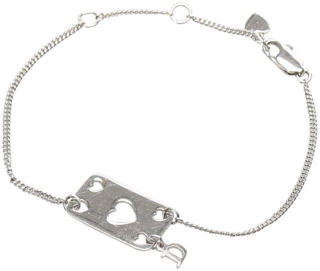 Dior Vintage Heart Plate Charm Bracelet