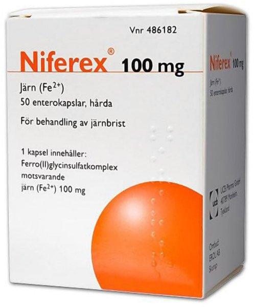 Niferex Enterokapsler 100mg 50 stk
