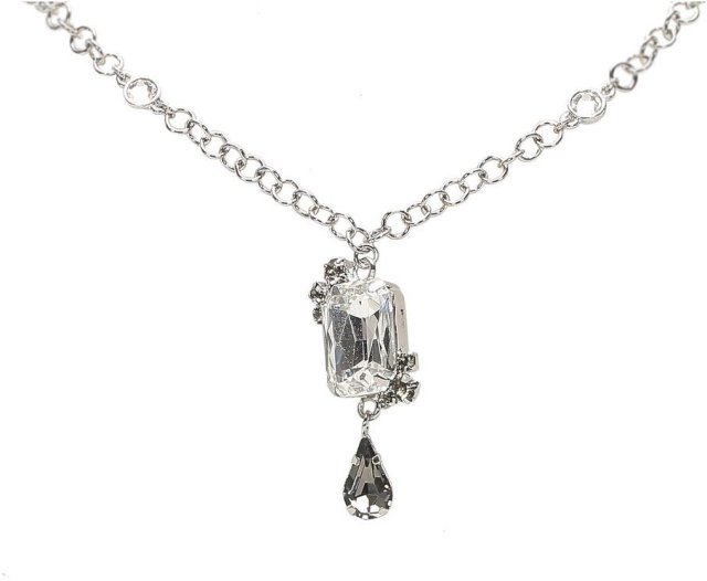 Dior Vintage Crystal Drop Pendant Necklace