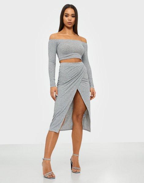 NLY One Melange Rib Skirt Set
