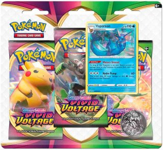 Pokémon Sword & Shield: Vivid Voltage Vaporeon Booster 3-pk