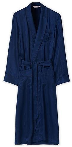 Derek Rose Pure Silk Striped Dressing Gown (Herre)
