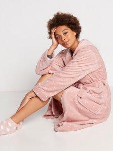 Rosa Morgenkåpe i fleece med prikker