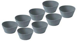 Muffinform 8 stk grå silikon