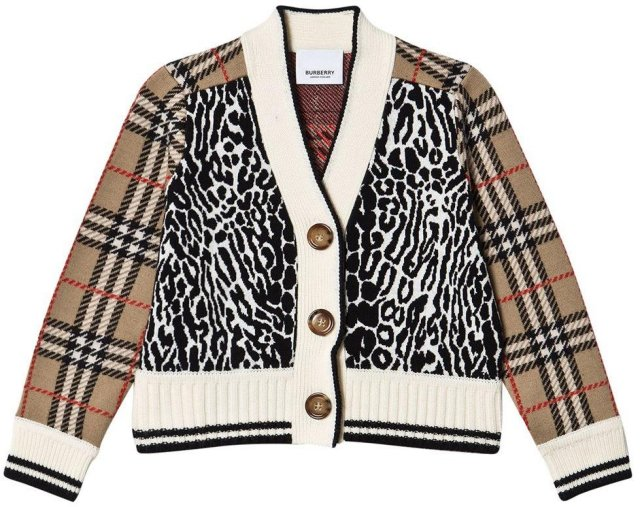 Burberry Check and Leopard Merino Wool Jacquard Jakke
