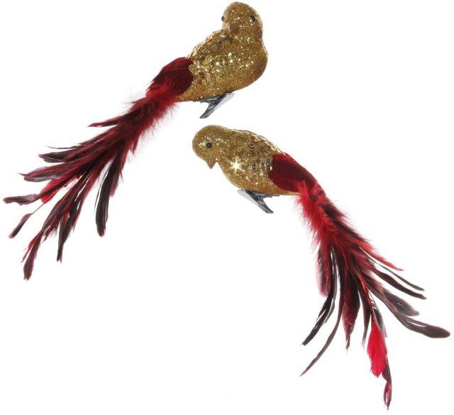 Shishi Fugl rød/gull 27cm