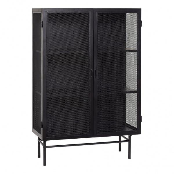 Hübsch Vitrineskap svart metall 150x100cm