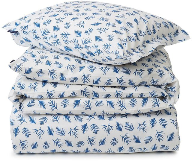 Lexington Blue Printed Leaves Organic Cotton Poplin sengesett