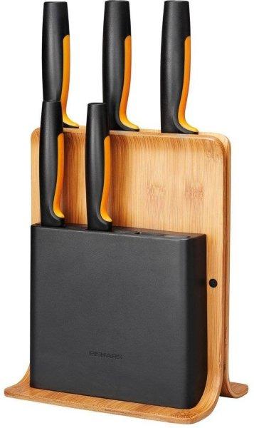 Fiskars Functional Form knivblokk 5 kniver bambus