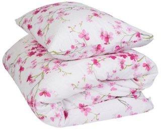 Krepp sengesett rosa blomster