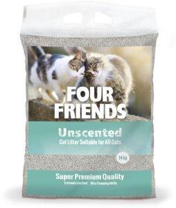 FourFriends Uparfymert Kattesand 14 kg