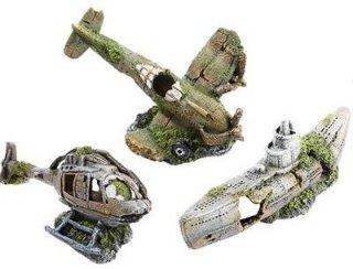Akvariedekor fly, helikopter og ubåt