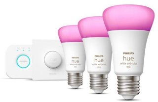 Hue White and Color Ambiance A60 E27 9W 1100lm Startsett 3-pack