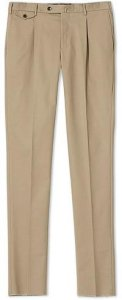 Gentleman Fit Pleated Cotton Trousers
