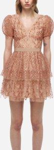 Grid Sequin Tiered Skirt Mini Dress