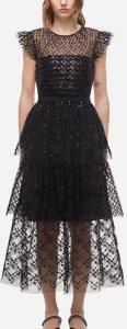 Grid Sequin Tiered Midi Dress