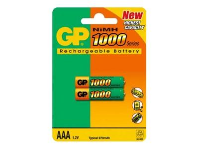 GP 2-pack AAA 1000 mAh