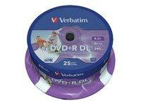 Verbatim DVD+R 8x  Double Layer 8,5 GB Printable 25 stk.