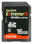 SanDisk Secure Digital Extreme III SDHC 16 GB 30MB/s Edition