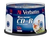 Verbatim CD-R 52x Glossy Inkjet Printable AZO 50 stk.