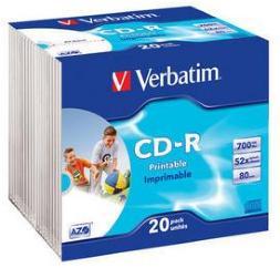 Verbatim CD-R 52X Foto Prinable 20 stk.