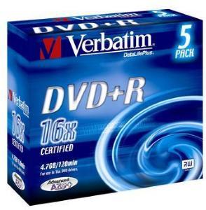 Verbatim DVD+R 16x 4.7 GB 5 stk.