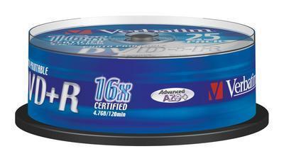 Verbatim DVD+R 16x  Printbar 4.7 GB 25 stk.