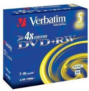 Verbatim DVD+RW 4x 4.7 GB 5 stk.