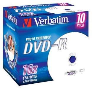 Verbatim DVD-R 16x Printbar 4.7 GB 10 stk.