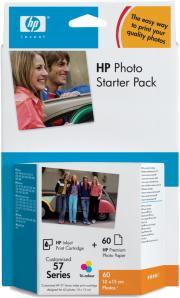 HP Fotopakke, blekk + 60 stk fotopapir 2,98 pr utskrift