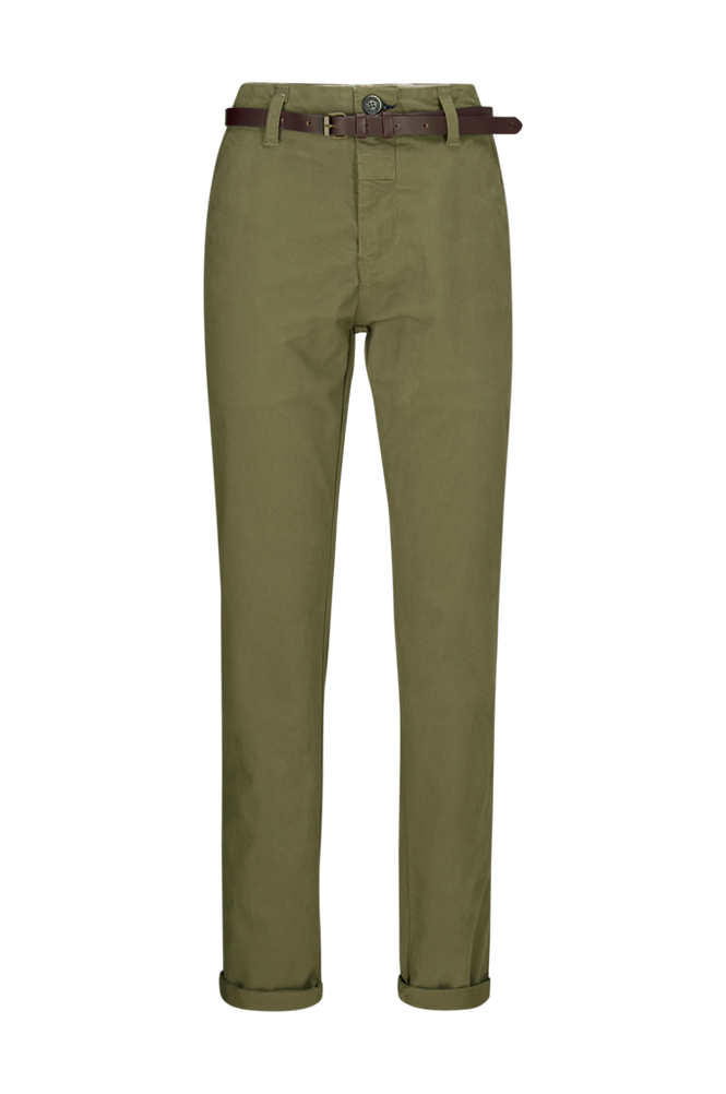 Dstrezzed Chinos Chino Pants Belt Stretch Twill Men Army Green