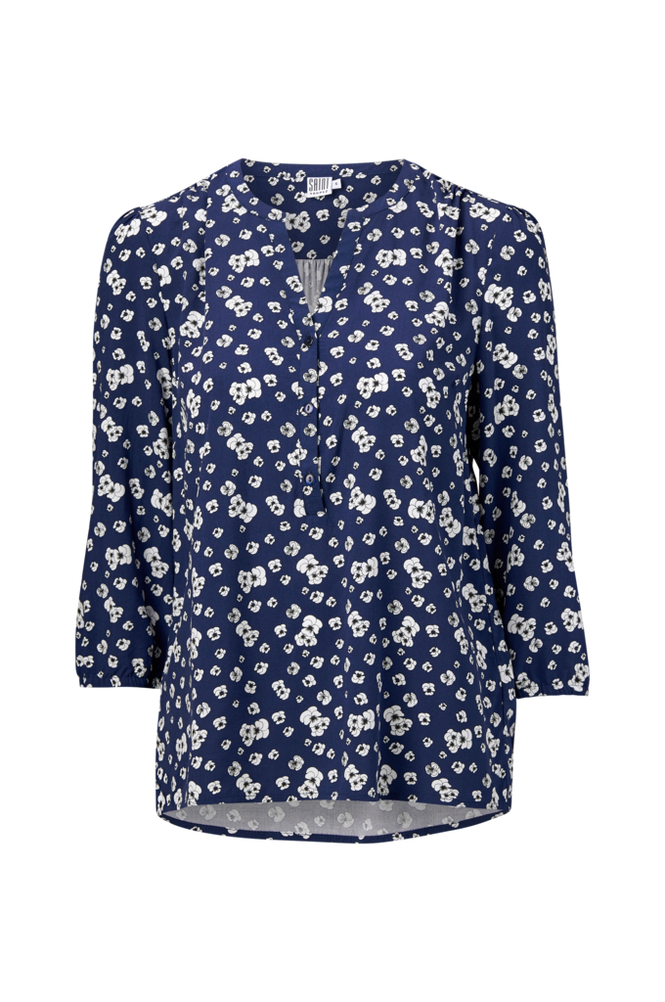 Saint Tropez Bluse Pansies Flower Blouse Women Blue haze