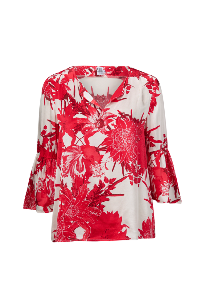 Saint Tropez Bluse Big Flower Blouse Women Rød
