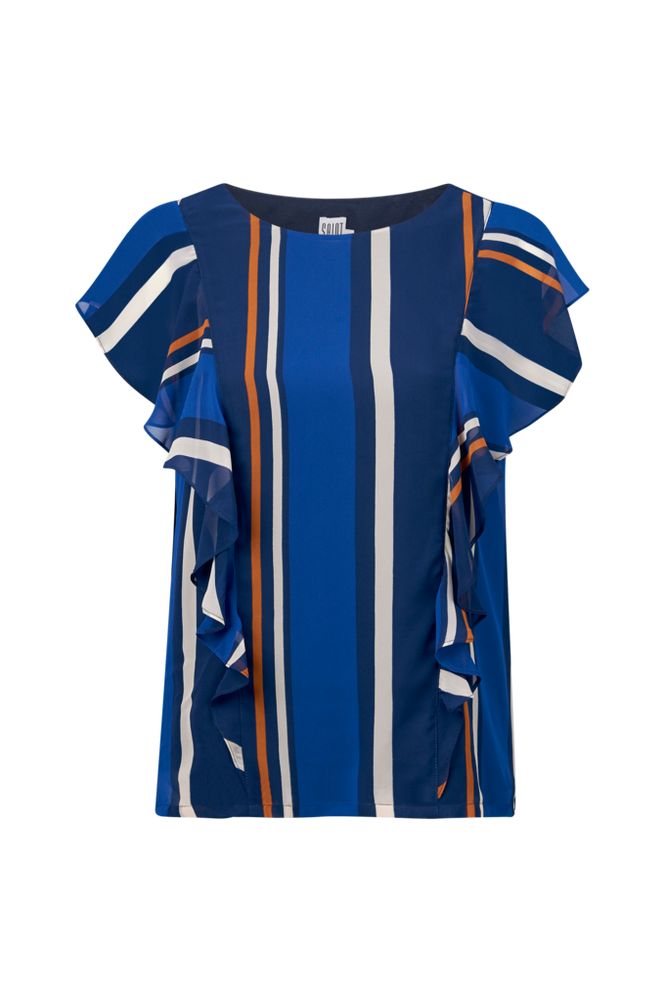 Saint Tropez Bluse Block Stripe Women Ant. blue