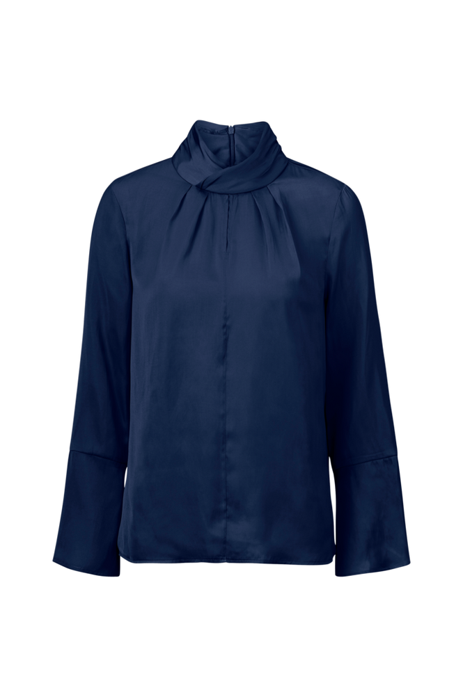 Saint Tropez Bluse Gathered Collar Women Ant. blue