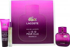 Lacoste Eau de Lacoste L12.12 Pour Elle Magnetic Gavesett 45ml EDT + 50ml Shower Gel + 7.4ml EDT Roller Ball