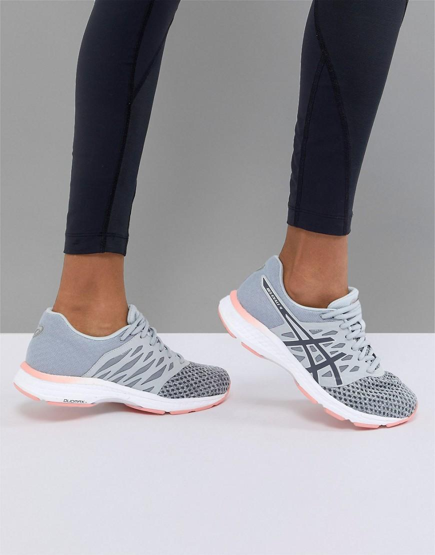 Asics Running Gel Exalt Trainers In Grey And Pink