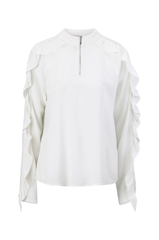 Saint Tropez Bluse Ruffel Zipper Blouse Women White