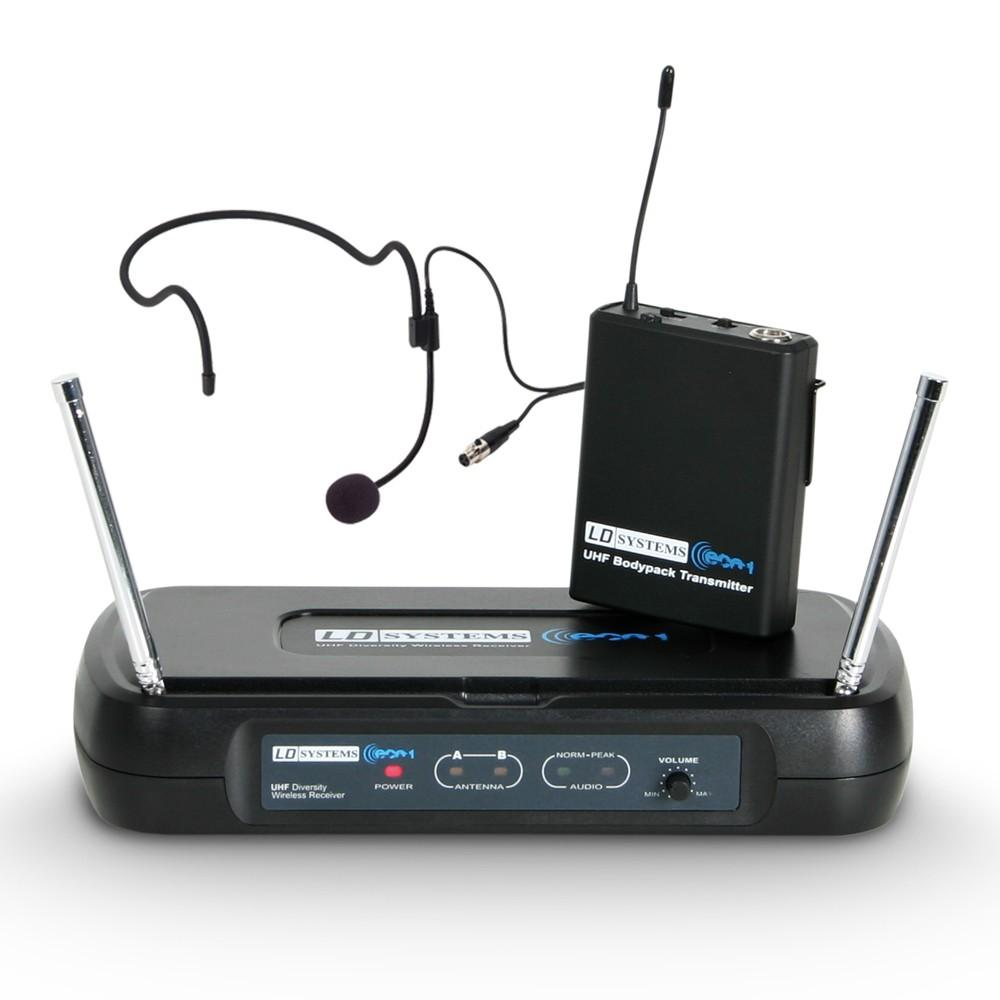 LD Systems ECO 2 BPH B6 II Wireless Mic with belt pack and headset, 633,400 MHz