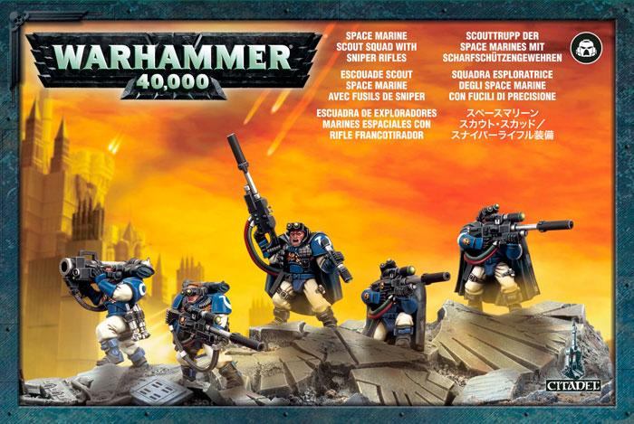 Space Marine Scout Squad with Sniper Rif Sniper Rifles Warhammer 40K