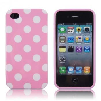Deksel for iPhone 4& 4S Polka Rosa/Hvit