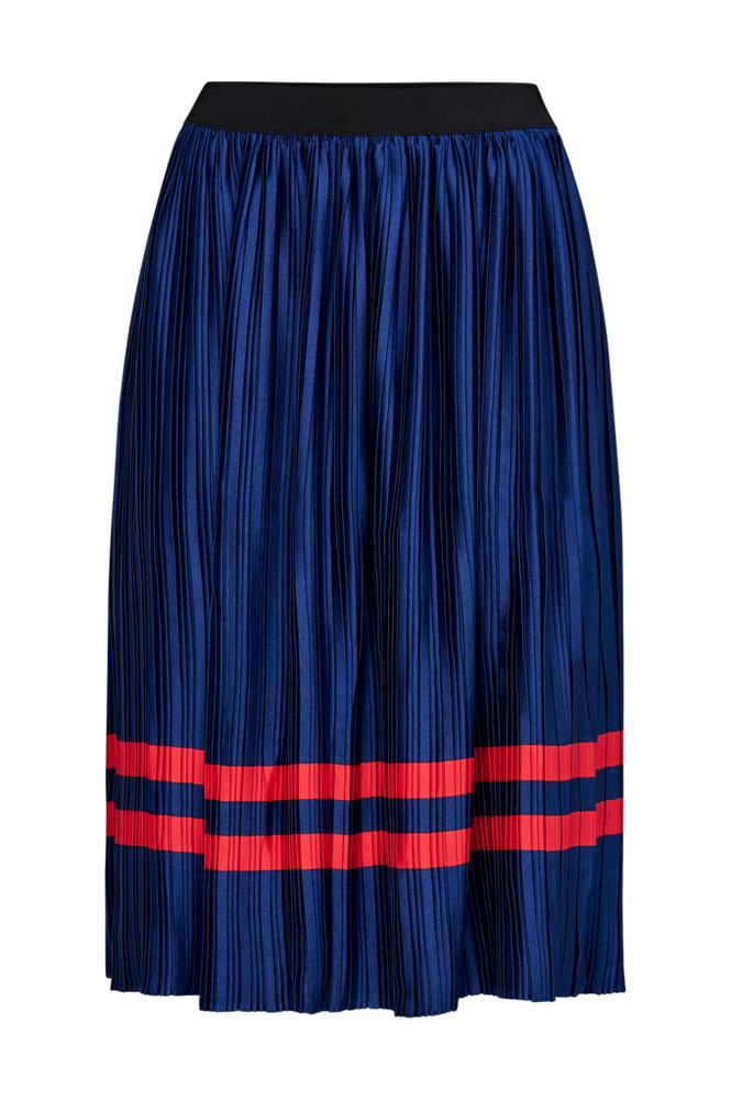 Saint Tropez Skjørt Plisse Skirt Stripe Women Ant. blue