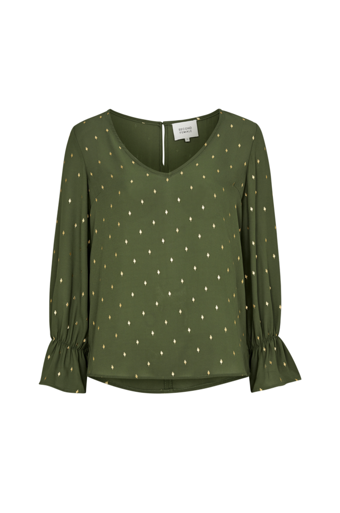 Second Female Bluse Leaf Foil Blouse Women Rifle green