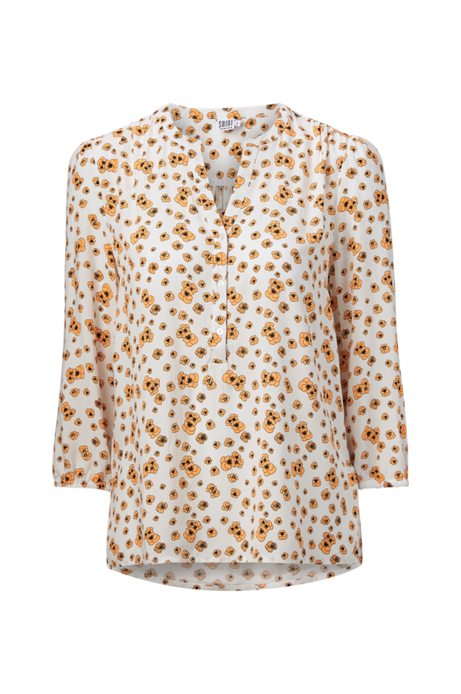 Saint Tropez Bluse Pansies Flower Blouse Women Ice