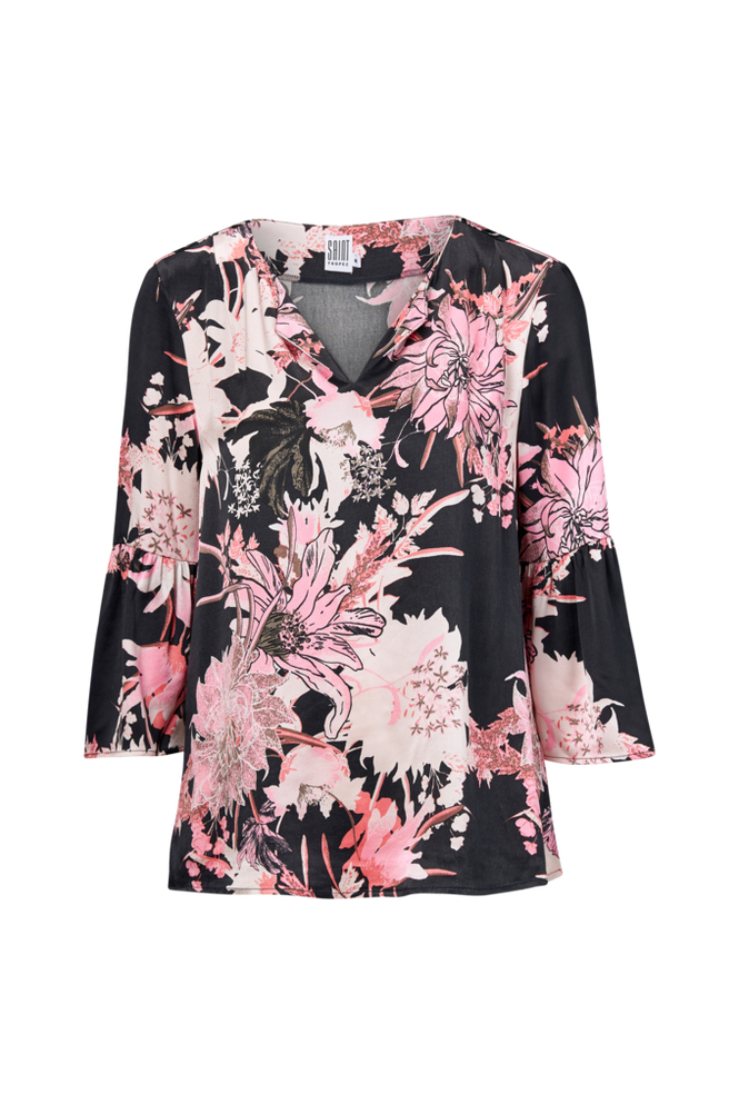 Saint Tropez Bluse Big Flower Blouse Women Mørk blå