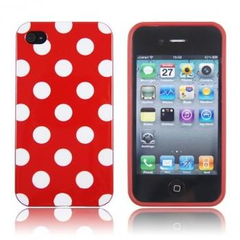 Deksel for iPhone 4& 4S Polka Rød/Hvit